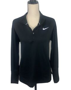 NIKE RUNNING DRI FIT 1/4 ZIP PULLOVER SHIRT WOMAN'S LARGE NICE! BLACK