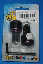 """2 embouts de guidon Motrax carbone et anodisé """"violet"""" Neuf"""