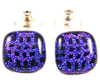 "Dichroic Glass Earrings Purple Pink Black Patterned 1/2"" 12mm Post Stud or Clip"