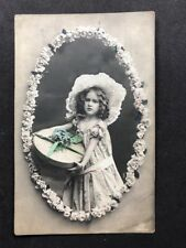 Vintage Postcard: RP Anon. People #B238: Girl: Flower Boarder: Posted 1912