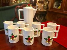 Vintage Christmas Style House Japan Holly & Gold Bells Cups & Teapot