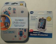 VTech InnoTab 3 Folio Case 80-213500 w/ Two Screen Protectors and Cleaning Cloth