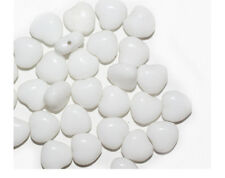 White Heart Czech Pressed Glass Beads 8mm (pack of 30)