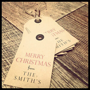 12 Vintage/Retro/Rustic Personalised Christmas Tags Present Parcel Label Gift