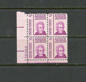 US USA Sc# 1286 MNH FVF PLATE # BLOCK Andrew Jackson 7th President Tagged