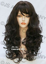 Skin top Mediu  Brown Long Bouncy Wavy Curly with Bangs WIG JSCA 6