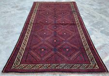 Authentic Hand Knotted Afghan Balouch Wool Area Rug 5.5 x 3.0 Ft (388 Hm)