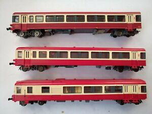 train jouef ou autre 3 voitures voyageurs rouge et blanc micheline?
