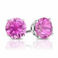 3 Ct Round Pink Earrings Studs Real 14K White Gold Brilliant Screw Back Basket