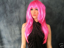 Bundle: LADY MASK +LASHES +PINK RAVER WIG Female Latex Maske Drag Crossdresser