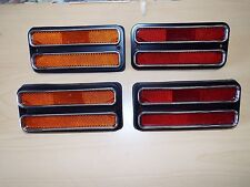 68-69-70-71-72 Chevy GMC Pickup Truck 4 Side Marker Lamp Set Amber, Red w/ Trim