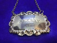 Solid Silver Fully Hallmarked Sherry Decanter Lable