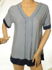 DKNY Pajama Top Contrast-Trimmed Striped Blue Size S Retail $49