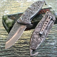 ZOMBIE SPRING ASSISTED TACTICAL Z-HUNTER SILVER SKULL FOLDING POCKET KNIFE OPEN