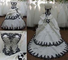 Vintage White Black Gothic Wedding Dress Bridal Gowns Lace up Custom Size 2+4++