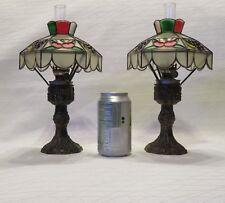 "2 Vintage Tiffany Style Small Hurricane Plastic Oil Lamps 11 5/8"" Tall Hong Kong"