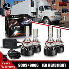 High Low Beam Combo 4x 9005 + 9006 LED Headlight 6000K Bulbs For Sterling Trucks