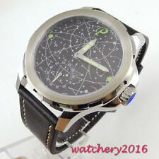 44mm Parnis black Dial luminous hands 6498 hand winding Movement Men's Watch
