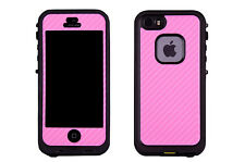 Skin Decal Wrap for LIFEPROOF CASE iPhone Sticker 5 5S Phone PINK CARBON FIBER