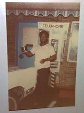 Vintage 70s Found PHOTO Black Man At Vintage Phone Booth In Nevada Change Bucket