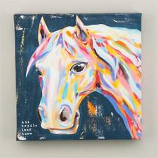 "NEW GLORY HAUS CANVAS PRINT - HORSE PONY ""ALL TRAILS LEAD HOME ""  12"" x 12"""
