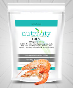 Pure Antarctic Krill Oil 1000 mg Capsules Softgels Made By Nutrivity UK