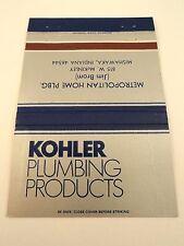 Matchbook Cover ~ METROPOLITAN HOME PLUMBING Mishawaka IN Kohler Products RS 40