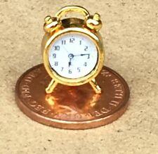 1:12 Scale Non Working Polished Brass Alarm Clock Tumdee Dolls House Miniature