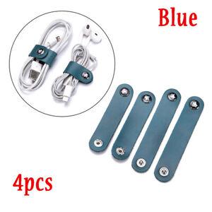 4PCS Leather Headphone Earphone Earbud Cable Tie Cord Wrap Winder Organizer