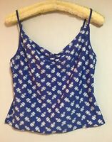 LAURA ASHLEY Tankini Top Beachwear Strappy Cami Vest Suntop Blue Floral 16/18 44