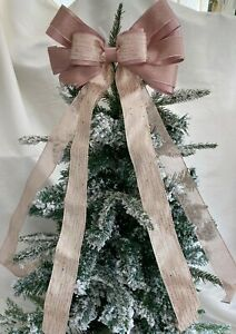 """Rose gold/Champagne tie on 10"""" Tree Top Bow   Christmas, luxury gift etc"""