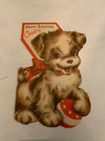 Vintage 1950's Happy Birthday Cousin Greeting Card Dog Graphics