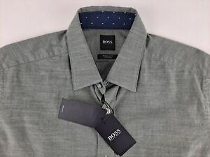 NEW Hugo Boss Stretch Men S Olive Green Chambray Shirt Contrast Long Sleeve D