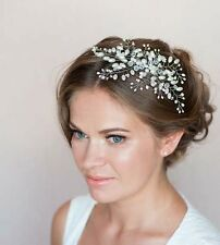 Bridal Hair Vine Crystal Pearl Floral Leaf Wedding Proms Comb Headpiece