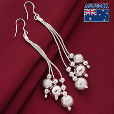 Beads 10cm Long Drop Dangle Earrings 925 Sterling Jewelry Silver Filled Ball