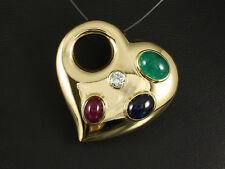 Herz Anhänger mit Brillant Saphir Rubin Smaragd ca. 5,25ct 21,4g 750/- Gelbgold