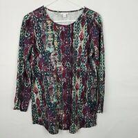 J Pure Jill WOmens Top Size S Purple Green Scoop Neck Long Sleeve Cotton Boho