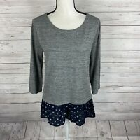 Ann Taylor Loft Womens 3/4 Sleeve Knit Top Sz Medium Gray w/ Blue Printed Hem