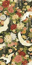 Asian Fabric - Wind Song Crane & Floral Metallic Black - Oasis YARD