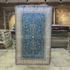 Yilong 3'x5' Blue Flowers Hand Knotted Silk Rug Eco Friendly Indoor Carpet 248B
