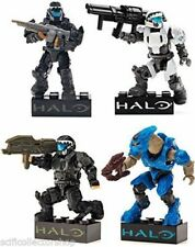 Mega Bloks Halo Drop Pod Four Figure Set Bundle - Jungle, White, Stealth & Blue
