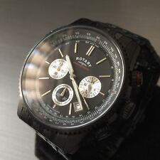 Para hombres Reloj Rotary Acero Negro Fecha De Piloto Cronógrafo chronospeed Stealth Genuino