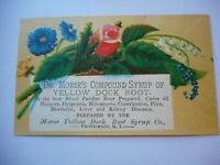 Antique Medical Trade Card Dr Morse's Compound Syrup Yellow Dock Root Flowers
