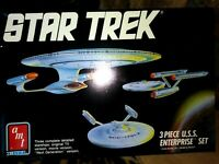 AMT/ERTL U.S.S. ENTERPRISE, ADVERSARY 3 PC. PLASTIC MODEL KITS, STAR TREK, NMIB