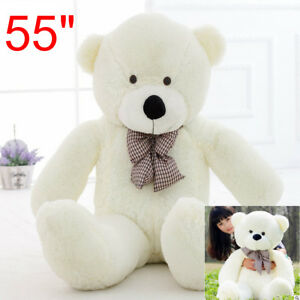 Handmade 55'' Big Teddy Bear White Plush Soft Toy Doll Only Cover Case No Filled