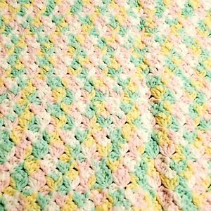 Baby Blanket Crochet Afghan Unisex Colors White Green Yellow Pink