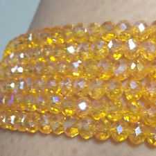 wholesale 6X8mm yellow colour Glass bead Round Gems Loose Beads AAA
