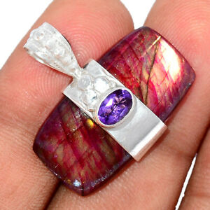 Red Flash Labradorite & Amethyst 925 Sterling Silver Pendant Jewelry BP93931