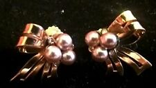 Stunning Golden Rhinestones and Faux Pearls Bow Earrings, Vintage Coro Jewelry