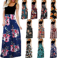 Women's Boho Floral Sleeveless Tunic Long Maxi Dress Summer Party Beach Sundress
